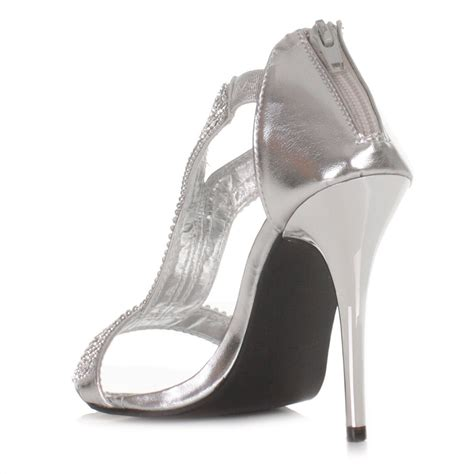 silver high heel shoes for prom womens silver diamante high heel wedding prom