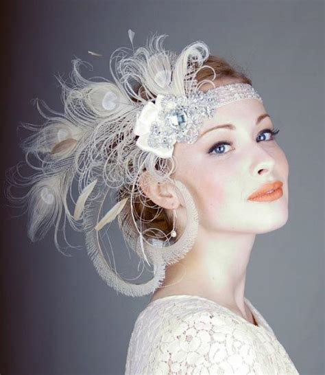 gatsby themed hairpieces peacock wedding ivory peacock feather flapper headband