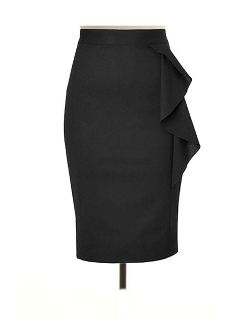 plus size black pencil skirt with side flared custom fit