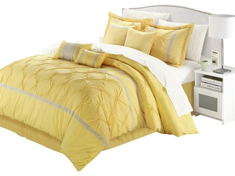 yellow bed in a bag vermont yellow and grey queen 12 piece embroidered bed in