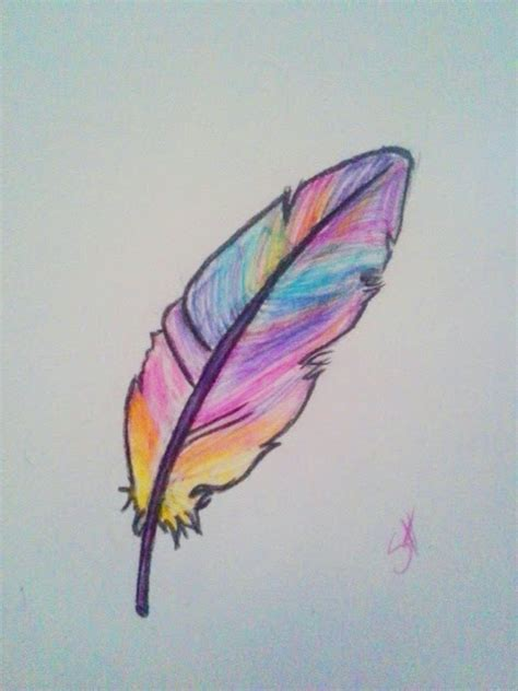 easy colorful drawings draw a feather feathers drawings and drawing ideas