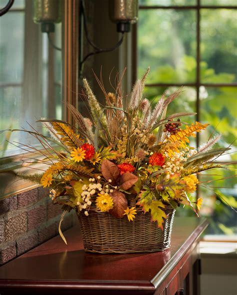 silk centerpieces autumn grasses basket silk flower centerpiece at petals