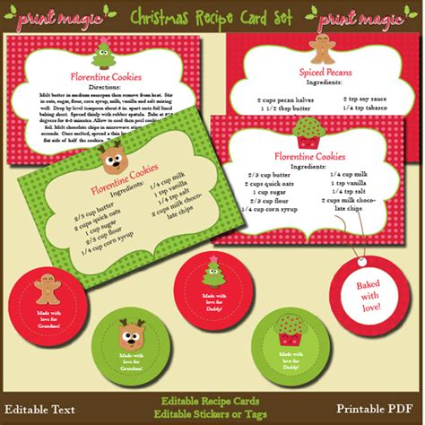 printable christmas recipes 8 best images of christmas free printable recipe templates