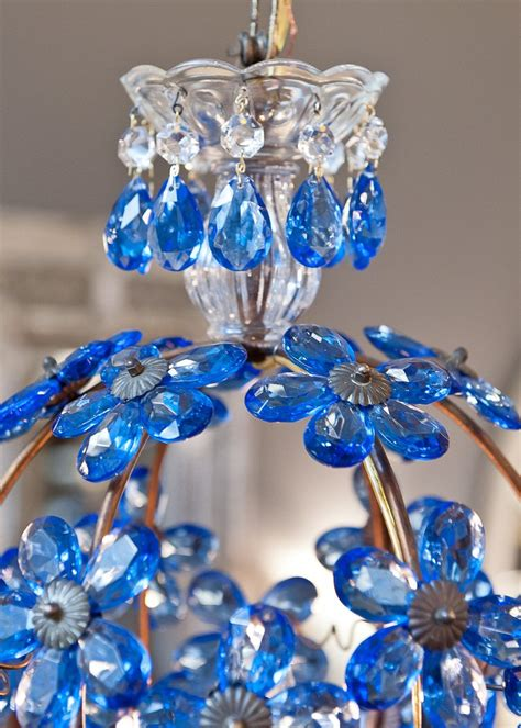 Blue Chandelier Crystals Antique Sapphire Blue And Brass Chandelier At 1stdibs