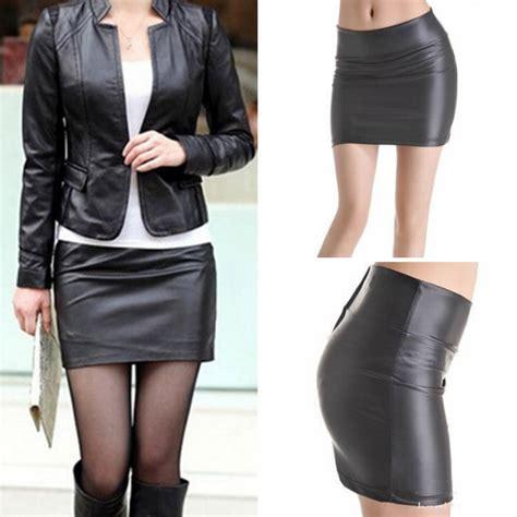 Hi Waist Cewek womens high waist black faux leather tight zip stretch
