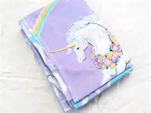 Purple Bed Linen Sets - 1980s purple unicorns and rainbows twin flat vintage sheet