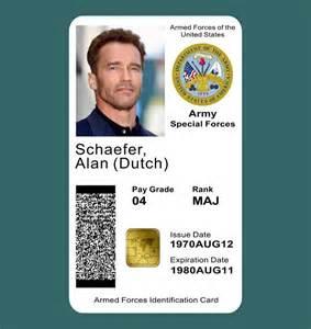 us army id card template predator id card prop arn schwarzenegger alan