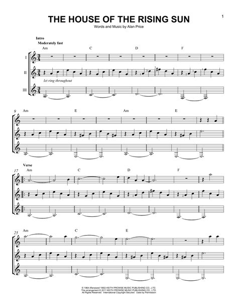 house of the rising sun music sheet the house of the rising sun sheet music by the animals guitar ensemble 166496