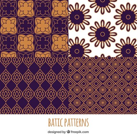 batik geometric pattern pack of geometric batik flower patterns vector free download