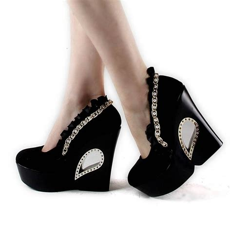 pearl wedge heel crystral closed toes black cheap wedding