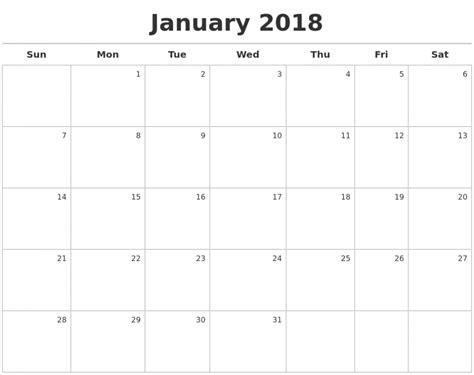printable january 2018 calendar templates 123calendars com