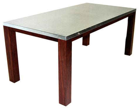 Galvanized Dining Table Lumber Company Galvanized Steel Top Table With Black Walnut Legs Dining Tables Houzz