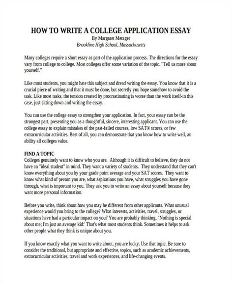 Exle Of Essay For College Application by Writing Effective College Application Essay