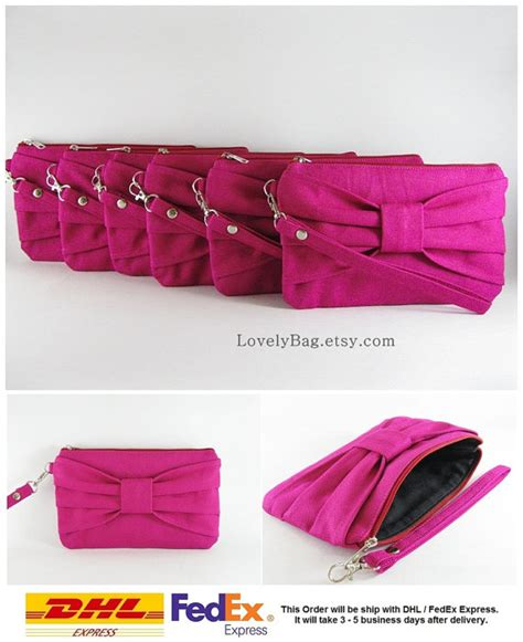 Hochzeit Sale by Sale Set Of 8 Fuchsia Bow Clutches Bridal