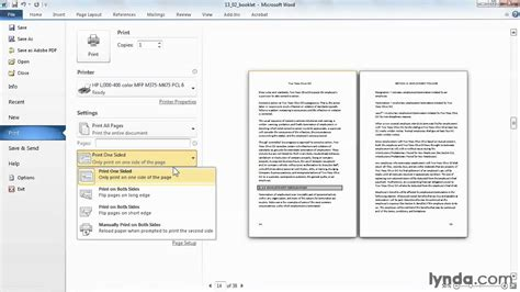 microsoft word tutorial how to print a booklet lynda