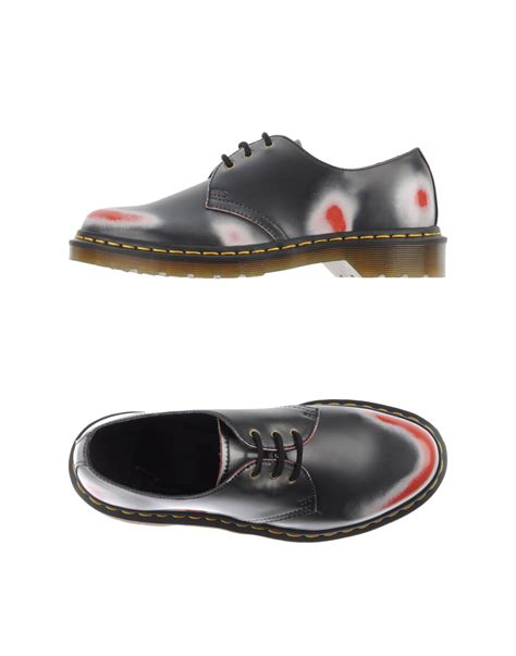blue pattern dr martens lyst dr martens lace up shoes in blue