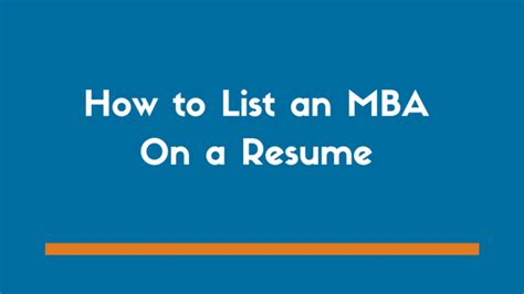 How To Obtain An Mba by How To List An Mba On A Resume With Exles Zipjob