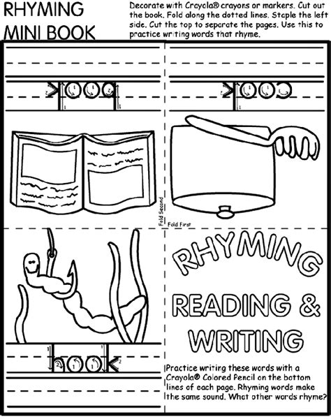 rhyming mini book coloring page crayola com