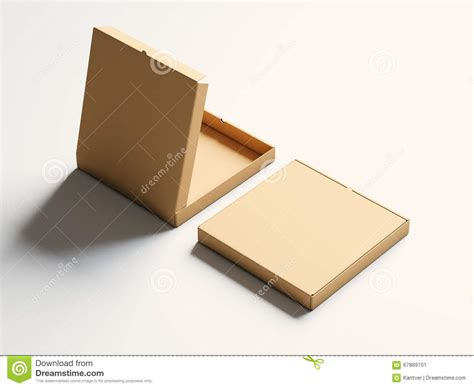 Craft Paper Box - photo blank craft paper open pizza box on white background