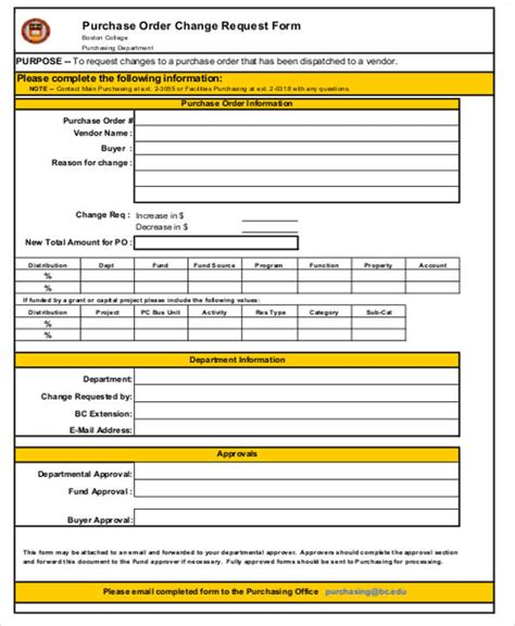 bank change order form template sle change order request form 9 exles in word pdf