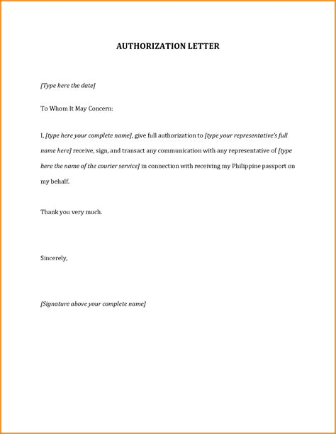 Authorization Letter Representative Authorization Letter For Passport Authorization Letter Pdf