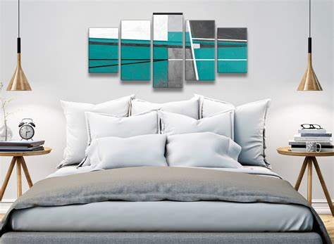 piece teal grey painting abstract dining room canvas