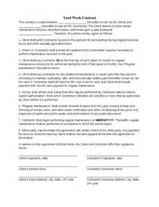 contract for work to be performed template yard work contract hashdoc