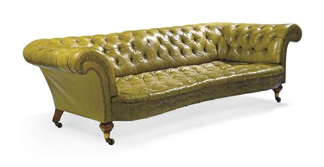 A Victorian Green Leather Chesterfield Sofa Late 19th Green Chesterfield Sofa For Sale