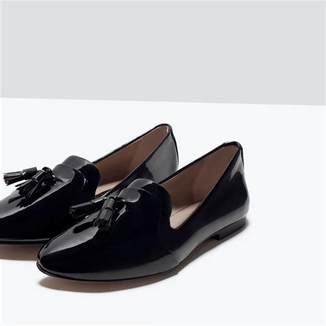 zara shoes zara glossy flat shoes in black lyst