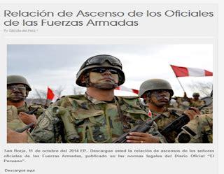 lista de ascensos promocion 2016 marina de guerra publican ascensos ej 233 rcito peruano fuerza a 233 rea y marina