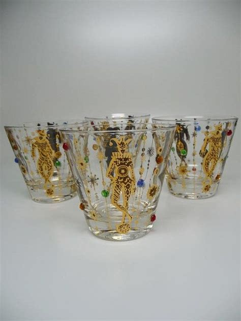culver barware 4 culver mardi gras jester jeweled barware glasses mardi