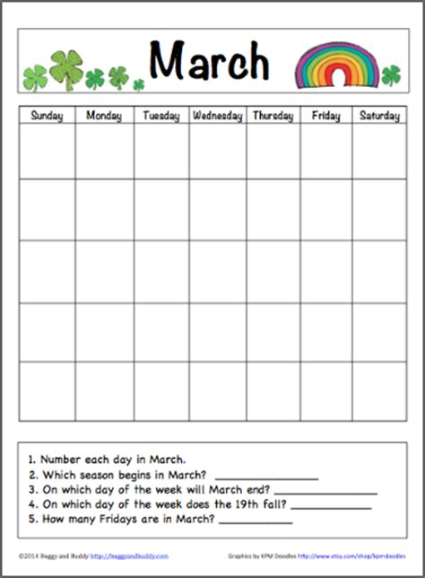 printable kindergarten calendar worksheets march calendar for kids free printable buggy and buddy