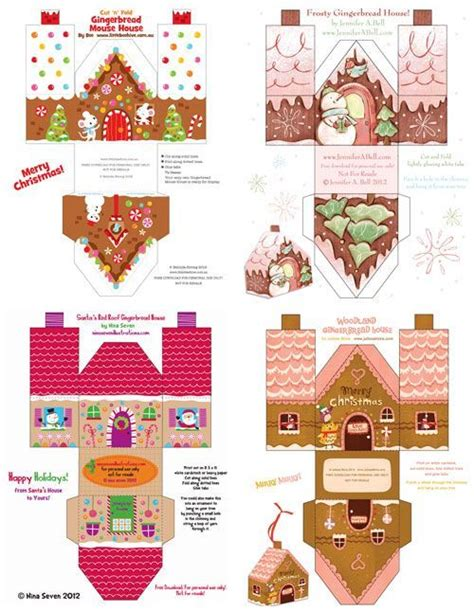 printable paper gingerbread houses and gingerbread on