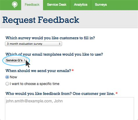 feedback request template edit email template