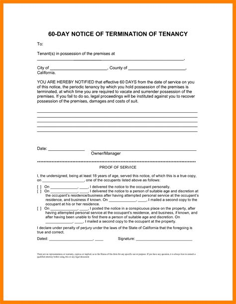 60 day lease termination notice template 8 60 day notice template day care resume
