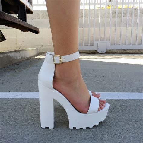 who makes soled high heels white faux leather ankle lug sole chunky heels