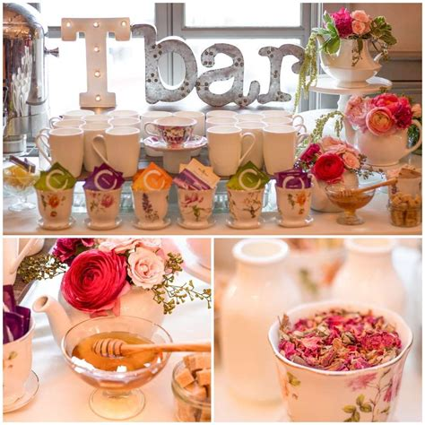 rose themed kitchen garden tea party bridal wedding shower party ideas
