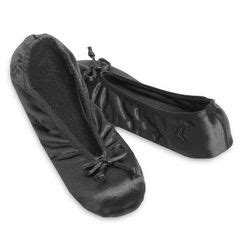 isotoner bedroom slippers ladies isotoner satin ballet style slippers black