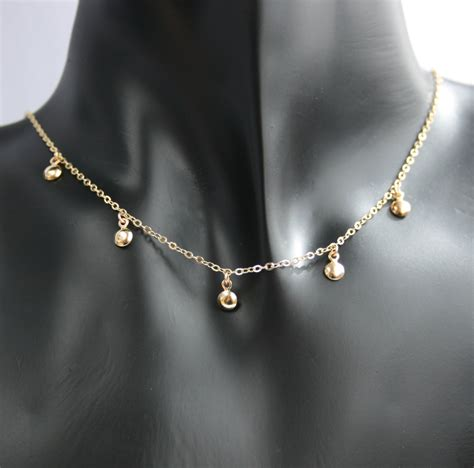 teeny tiny gold coins necklace delicate gold necklace small