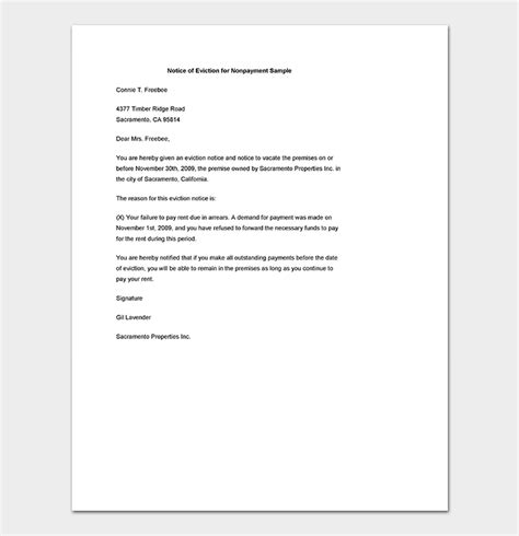 eviction notice sample letters templates