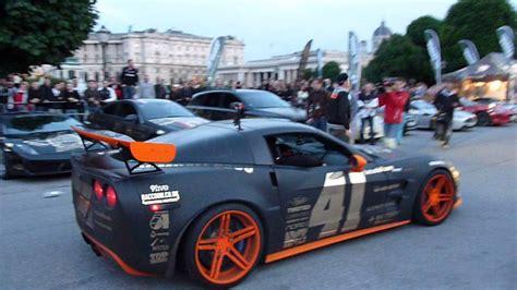 corvette zr1 burnout corvette c6 zr 1 burnout on gumball 3000 in vienna