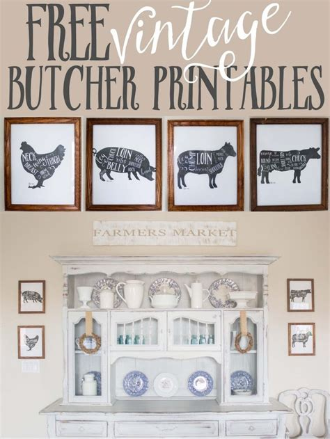 free home decor free kitchen printables farm animal butcher prints the