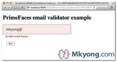 email validation regex primefaces jsf email validator exle mkyong com