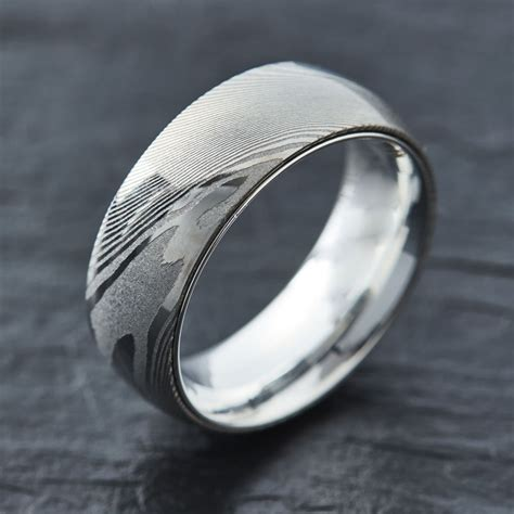 embr wood grain damascus steel ring 925 sterling silver