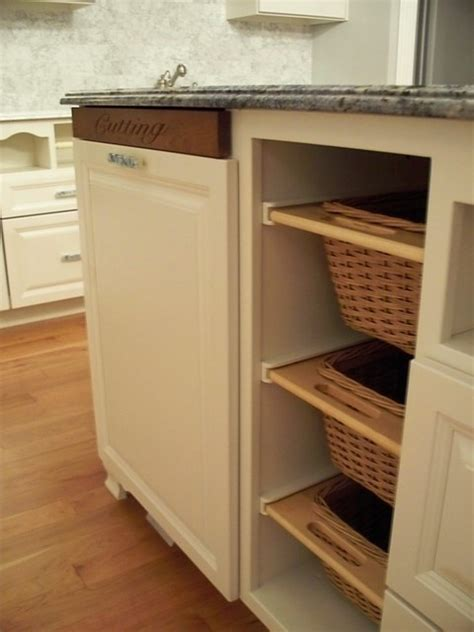Kitchen Built In Cutting Board and Baskets   Traditional