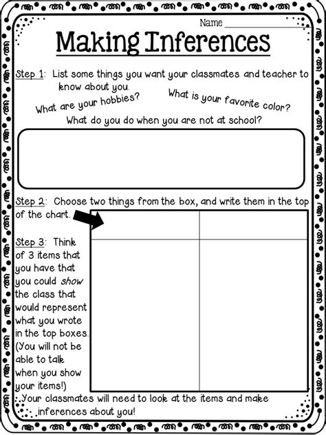 a back to school activity idea involving inferences