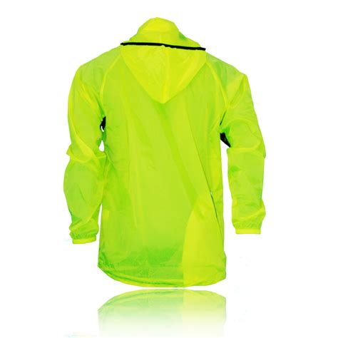 hooded cycling jacket ronhill mens hi viz yellow water resistant reflective