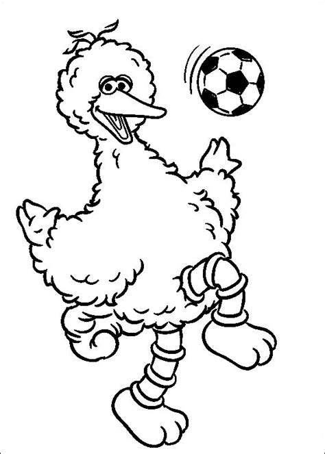 coloring page big bird big bird playing soccer sesame street coloring pages