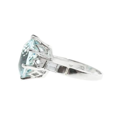 1950s aquamarine platinum ring for sale at