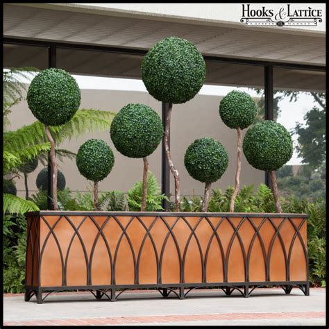 arch wrought iron planters outdoor hooks lattice